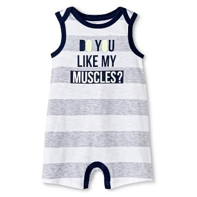 Cherokee® Baby Boys' Romper - Gray Stripe 3-6 M