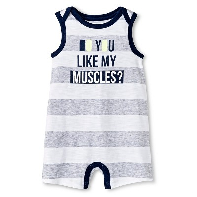 Baby Boys' Romper Gray Stripe 0-3M - Cherokee®