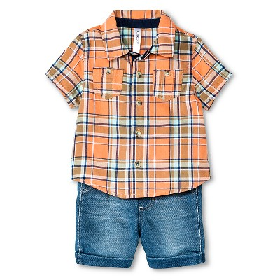 Baby Boys' Shirt & Denim Shorts 2 Piece Set Orange Plaid 0-3 M - Cherokee®