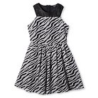 Girls' Penelope Tree Zebra Stripe Pattern Skater Dress - Black S