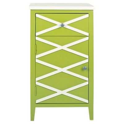 Brandy Small Cabinet Lime Green/White - Safavieh