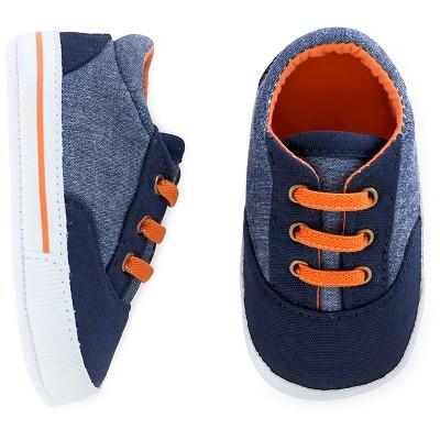 Cherokee® Baby Boy Sneaker - Chambray/Navy/Orange 3-6 M