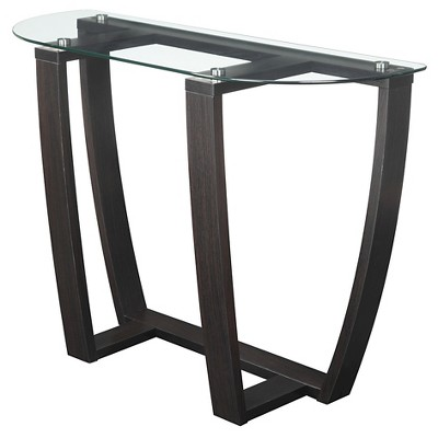 Newport Glass Top Console Table - Convenience Concepts
