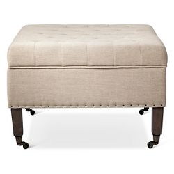 Custom Upholstered Tufted Square Ottoman Skyline