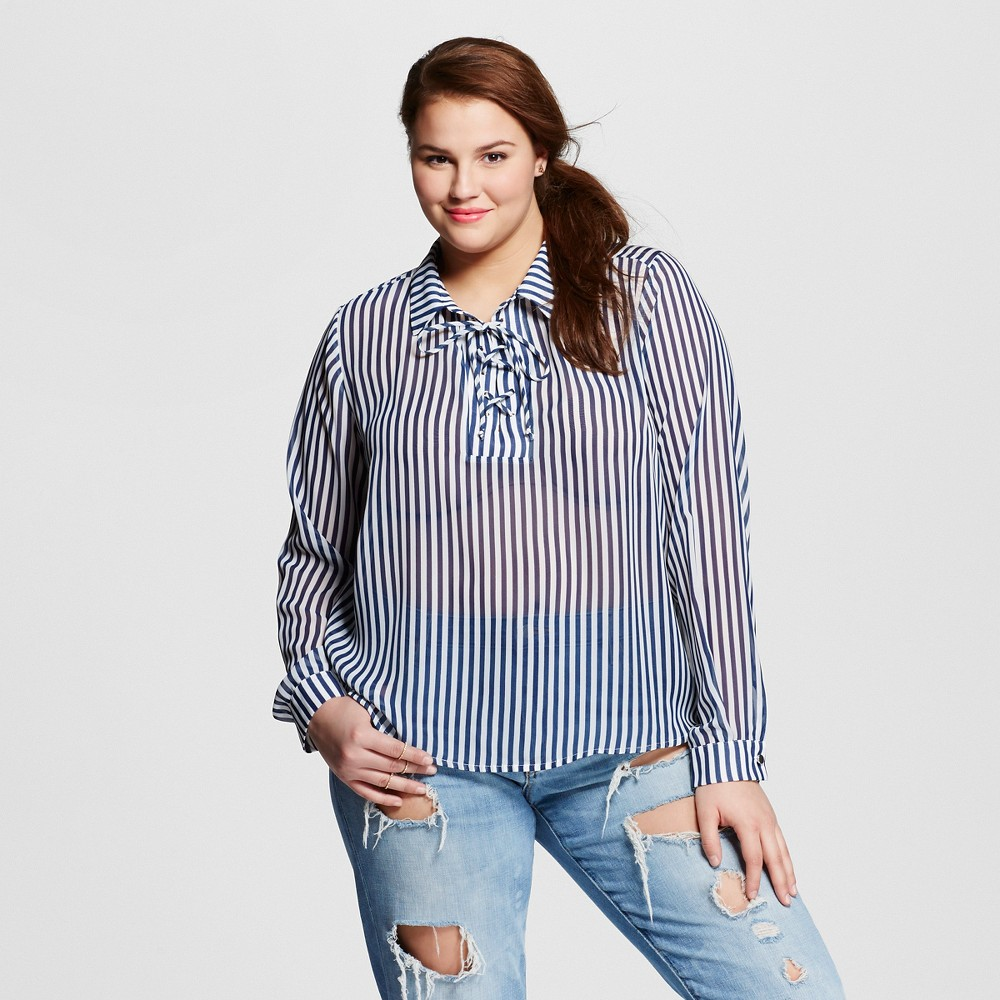 Women's Plus Size Collared Shirt With Tie Neck Navy - Lily Star (Juniors')