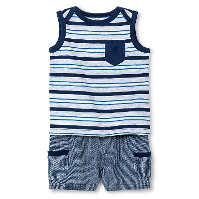 Baby Boys' Stripe Top & Shorts Set Blue Stripe 12M - Cherokee®