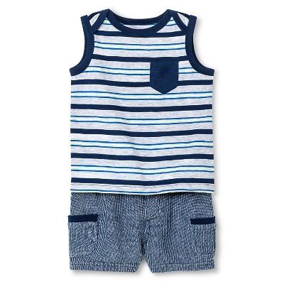 Cherokee® Baby Boys' Stripe Top & Shorts Set - Blue Stripe 18 M