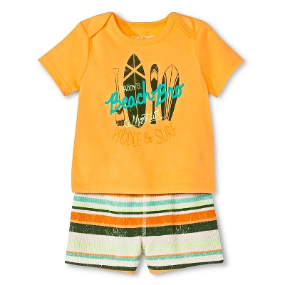 Baby Boys' Daddy's Beach Bro Top & Shorts Set Orange Multi Stripe 0-3 M - Cherokee®