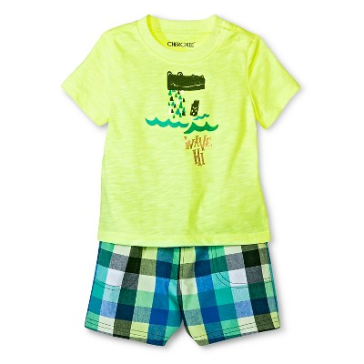Baby Boys' Top & Plaid Shorts Set Green Multi Plaid 6-9 M - Cherokee®
