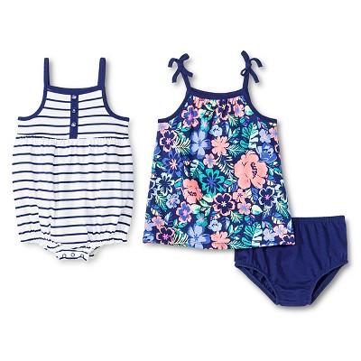 Cherokee® Baby Girls' 2 Pack Dress and Romper - Multi Floral/Purple Stripe 3-6M