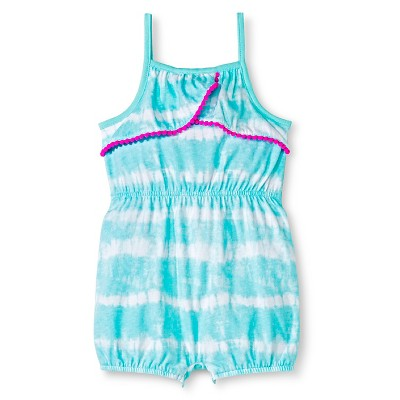 Cherokee® Baby Girls' Pom-Pom Trim Romper - Tie Dye 12M