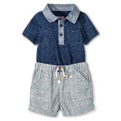 Cherokee® Baby Boys' Bodysuit & Shorts 2 Piece Set - Blue/White Stripe 3-6 M