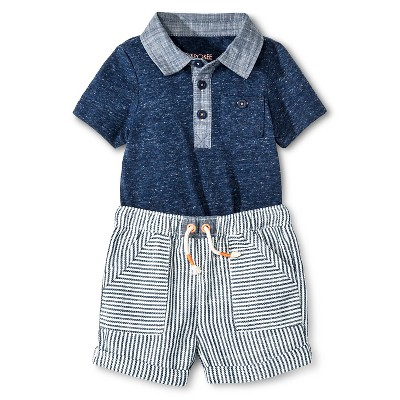 Baby Boys' Bodysuit & Shorts 2 Piece Set Blue/White Stripe 6-9M - Cherokee®