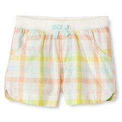 Toddler Girls' Plaid Chino Short White - Cherokee®