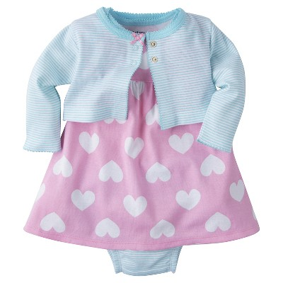 Gerber® Baby Girls' 3-Piece Big Heart Dress 0-3M