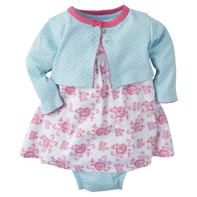 Gerber® Baby Girls' 3-Piece Roses Dress 0-3M