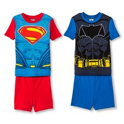 Boys' Batman vs Superman Boys' 4-Piece Pajama Set - Blue/Red
