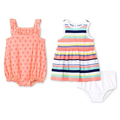 Cherokee® Baby Girls' 2 Pack Dress and Romper - Multi Stripe/Pink Dot NB