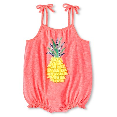 Cherokee® Baby Girls' Romper - Pink with Pineapple 0-3M