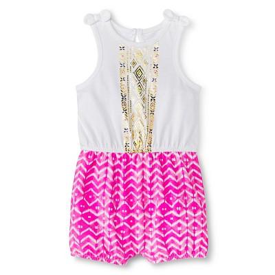 Baby Girls' Sleeveless Bow Shoulder Romper White/Pink 12M - Cherokee®