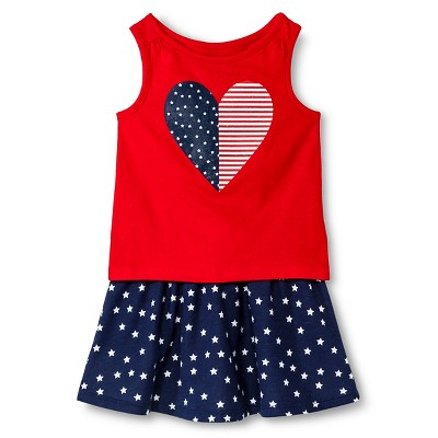 Baby Girls' Heart and Stars Tank Top and Skirt Set Red/Blue 18M - Circo™