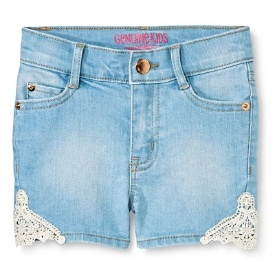 Baby Girls' Lace Short Light Wash Denim 12M - Genuine Kids from Oshkosh™