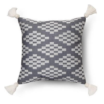 "Herringbone Embroidered Square Decorative Pillow (18""x18"") Blue - Nate Berkus™"