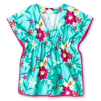Baby Girls' Floral Pom Pom Trim Cover Up Dress Iridescent Green 9M - Circo™