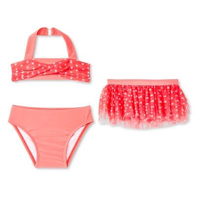 Baby Girls' 3-Piece Polka Dots Tankini Set Orange 12M - Circo™