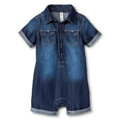 Cherokee® Baby Boy Denim Romper - Medium Denim Wash 6-9 M