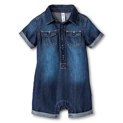 Baby Boy Denim Romper Medium Denim Wash 18 M - Cherokee®