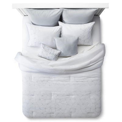 Stitched Geo Pattern Comforter Set Queen 8 Piece - White