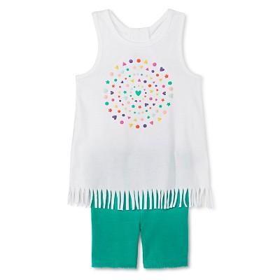 Baby Girls' Hearts Fringe Tunic and Bike Short White/Green 12M - Circo™