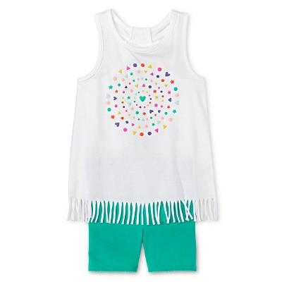 Toddler Girls' Hearts Fringe Tunic and Bike Short White/Green 2T - Circo™