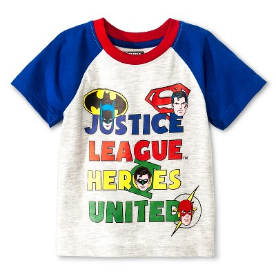 Male Tee Shirts Ju tice League Light Grey Heather 12 M