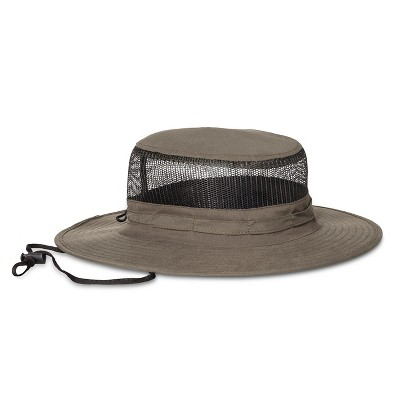 Men's Poly Outback Floppy Hat With Open Hole Mesh Olive Green - L/XL
