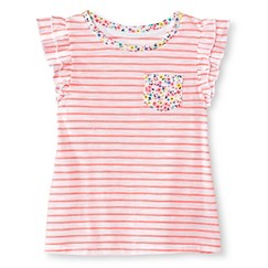 Toddler Girls Striped Flutter Sleeve Tee Pink - Cherokee®