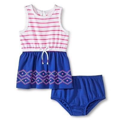 Baby Girls' Twofer Dress Pink Stripe/Grape Squeeze 3-6M - Cherokee®