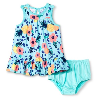 Baby Girls' Yoked Sundress Tropical Floral 0-3 M - Cherokee®
