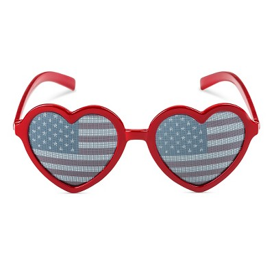 Girls' Heart Sunglasses with Flag Lens Red OSFM - Circo™