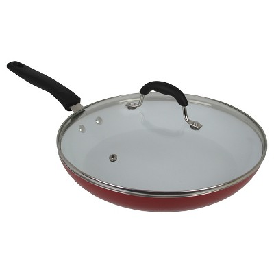 Oneida 12 Inch Red Aluminum Covered Fry Pan With A Ceramic Interior And A Glass Lid