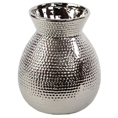 Broad and Beveled Neck Ceramic Vase with Hammered Design in Silver