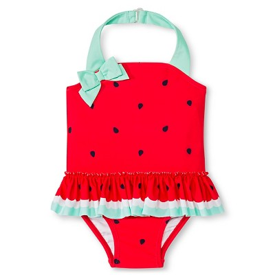 Baby Girls' Fruit Print One Piece Swimsuit Beach Pink 9M - Circo™