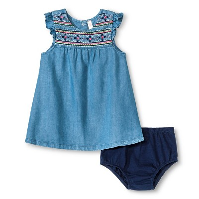 Baby Girls' Denim Dress Medium Wash 0-3M - Cherokee®