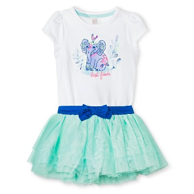 Cherokee® Baby Girls' Bodysuit & Tutu Skirt 2 Piece Set - White/Aqua 0-3 M