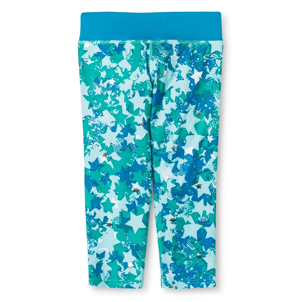 Girls' Printed Performance Yoga Capri Turquoise Star Multi S - C9 Champion, Girl's, Size: Small