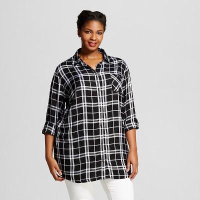Women's Plus Size Button Down Shirt Black 3X - Ava & Viv
