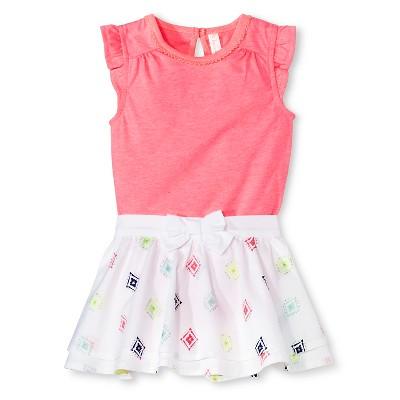 Cherokee® Baby Girls' Bodysuit & Skirt 2 Piece Set - Coral/Diamond Print 3-6 M