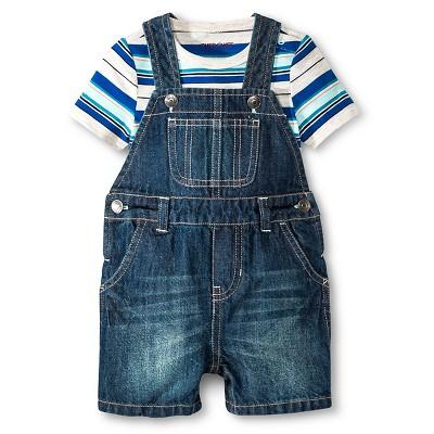 Cherokee® Baby Boys' Bodysuit & Denim Short Overall Set - Blue Stripe/Medium Wash 18 M
