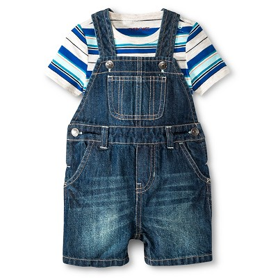 Cherokee® Baby Boys' Bodysuit & Denim Short Overall Set - Blue Stripe/Medium Wash 0-3 M